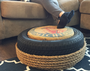 DIY Craft: Recycle an older Tire into an Ottoman